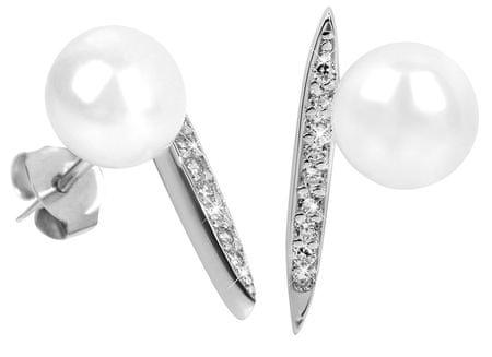 JwL Luxury Pearls Strieborné náušnice s pravou perlou a zirkónmi JL0363 striebro 925/1000