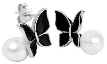 JwL Luxury Pearls Stříbrné náušnice Motýlci s pravou perlou JL0371 stříbro 925/1000