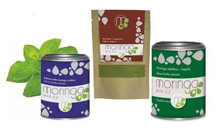 Moringa MIX Dárkové balení Bylinná směs moringy s mátou 100 g + Moringa s oregánem 30 g + Moringa oleifera 180 k