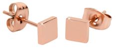 Troli Růžově pozlacené čtvercové náušnice z oceli
