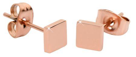 Troli Ružovo pozlátené štvorcové náušnice z ocele