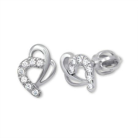 Brilio Náušnice z bílého zlata Srdce s krystaly 239 001 00583 07 - 1,35 g zlato bílé 585/1000