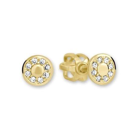 Brilio Zlaté kulaté náušnice s čirými krystaly 239 001 00701 - 1,15 g zlato žluté 585/1000