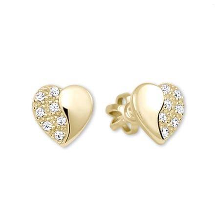 Brilio Zlaté náušnice Srdiečka s kryštálmi 239 001 00878 - 1,25 g žlté zlato 585/1000