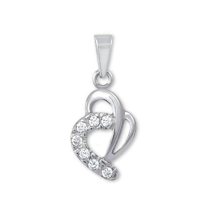 Brilio Zlatý prívesok srdce s kryštálmi 249 001 00359 07 - 0,55 g biele zlato 585/1000