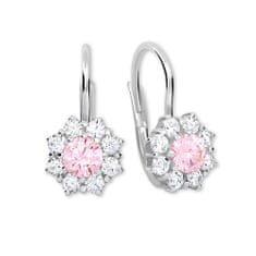 Brilio Silver Stříbrné náušnice s krystaly 436 001 00322 04 - růžové - 2,13 g stříbro 925/1000