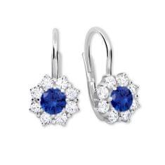 Brilio Silver Stříbrné náušnice s krystaly 436 001 00322 04 - modré - 2,13 g stříbro 925/1000