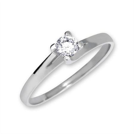 Brilio Zlatý zásnubný prsteň 223 001 00090 07 - 1,80 g (Obvod 55 mm) biele zlato 585/1000