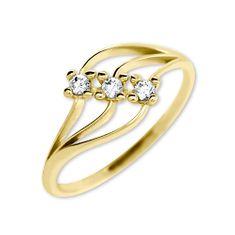 Brilio Dámský prsten s krystaly 229 001 00546 - 1,35 g zlato žluté 585/1000