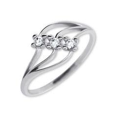 Brilio Dámský prsten s krystaly 229 001 00546 07 - 1,30 g zlato bílé 585/1000