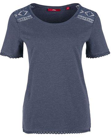 s.Oliver Dámske tričko 14.803.32.2522.58W1 Dark Steel Blue Melange (Veľkosť 34)
