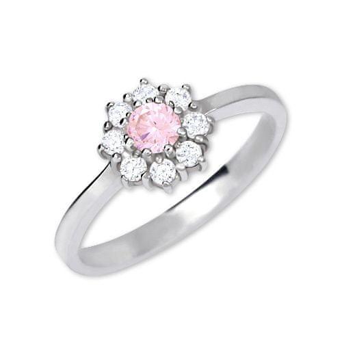 Brilio Silver Stříbrný zásnubní prsten 426 001 00432 04 - růžový - 2,30 g 52 mm