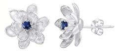 Silvego Stříbrné náušnice Květinky se syntetickým safírem SHZE968 stříbro 925/1000