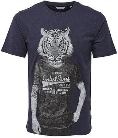 ONLY&SONS Pánske tričko Simon Funnyprint Ss Tee Blue Nights (Veľkosť M)
