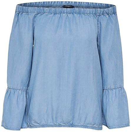 ONLY Dámske tričko Sandy Off Shoulder DNM Top Light Blue Denim (Veľkosť 34)