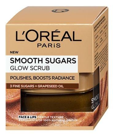 L'Oréal Rozjaśniania skóry obierania z oleju z pestek winogron (Smooth Sugars Glow Scrub) 50 ml