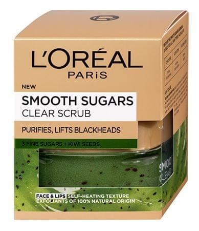 L'Oréal Czyszczenie obierania na czarne kropki zawierające nasiona kiwi (Smooth Sugars Clear Scrub) 50 ml