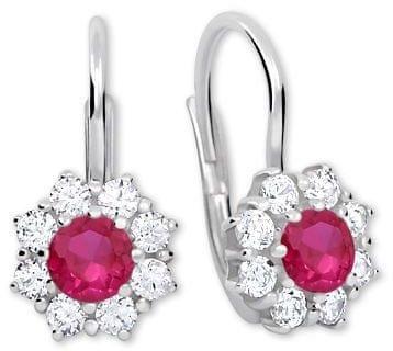 Brilio Silver Ezüst fülbevaló kristályokkal 436 001 00322 04 - fukszia - 2,13 g ezüst 925/1000