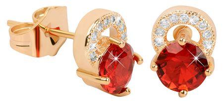 Troli Plated kolczyki glittery z czerwonymi Crystalami