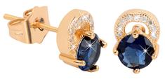 Troli Pozlacené třpytivé náušnice s modrými krystaly