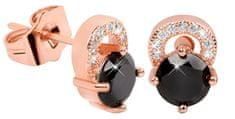 Troli Růžově pozlacené třpytivé náušnice s černými krystaly