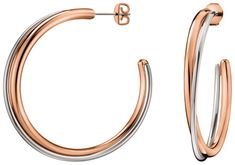Calvin Klein Bicolor kruhové náušnice Double KJ8XPE200100
