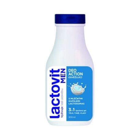 Lactovit Odświeżający żel pod prysznic dla mężczyzn na ciała, twarzy i włosów 3V1 Men 300 ml Deo działania