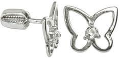 Brilio Silver Stříbrné náušnice Motýl s čirým krystalem 436 001 00385 04 - 1,15 g stříbro 925/1000