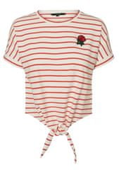 Vero Moda Dámske tričko LIROSE S / S TIE TEE D2-3 Snow White Poppy Red