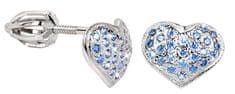 Brilio Silver Stříbrné náušnice Srdce 436 001 00251 04 - modré - 1,20 g stříbro 925/1000