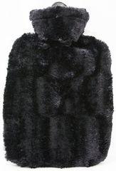 Hugo Frosch Termofor Classic s obalem z umělé kožešiny - černý s podšívkou