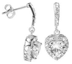 Brilio Silver Překrásné náušnice Srdce 436 0154 00234 04 - čiré - 3,30 g stříbro 925/1000