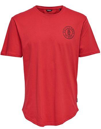 ONLY&SONS Pánské tričko Bobbi Ss Longy Tee Pompeian Red (Velikost S)
