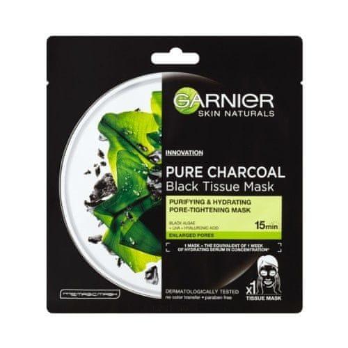 Garnier Černá textilní maska s extraktem z mořských řas Pure Charcoal Skin Naturals (Black Tissue Mask) 28 g