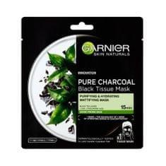 Garnier Černá textilní maska s extraktem zčerného čaje Pure Charcoal Skin Naturals (Black Tissue Mask) 28 g