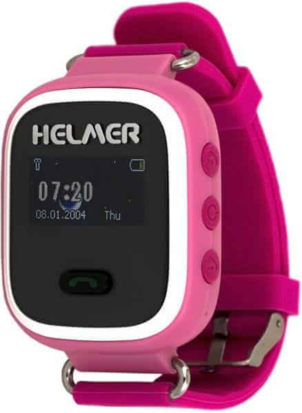 Helmer Chytré hodinky s GPS lokátorem LK 702 růžové + SIM karta GoMobil s kreditem 50 Kč