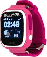 Helmer Chytré dotykové hodinky s GPS lokátorem a SIM kartou GoMobil s kreditem 50 Kč LK 703 růžové
