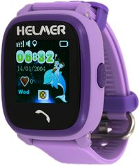 Helmer Chytré dotykové vodotěsné hodinky s GPS lokátorem a SIM kartou GoMobil s kreditem 50 Kč LK 704 fialo