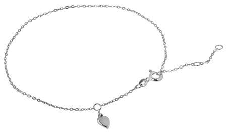 Brilio Silver Řetízek na nohu Srdce 26 cm 461 001 01075 04 - 1,16 g stříbro 925/1000