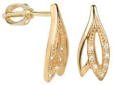 Brilio Náušnice ze žlutého zlata s krystaly 239 001 00602 - 1,85 g zlato žluté 585/1000