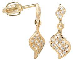 Brilio Náušnice z bílého zlata s krystaly 239 001 00821 - 1,65 g zlato žluté 585/1000