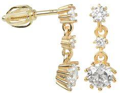 Brilio Náušnice ze žlutého zlata s krystaly 239 001 00650 - 2,20 g zlato žluté 585/1000