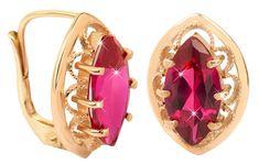 Brilio Elegantní zlaté náušnice s fuchsiovým krystalem 236 001 00609 - 3,70 g zlato žluté 585/1000