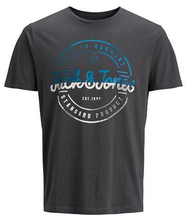 Jack&Jones Pánske tričko Jorlogo Tee Ss Crew Neck Asphalt (Veľkosť S)