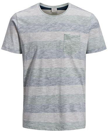 Jack&Jones Pánske tričko Jorstanly Stripe Ss Crew Neck Iceberg Green Slim (Veľkosť L)
