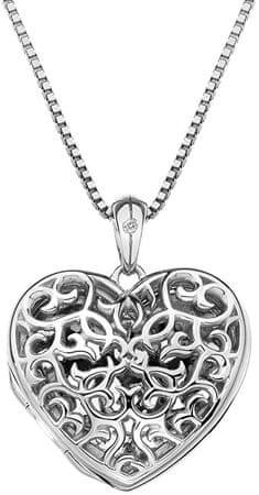Hot Diamonds Zawieszka na Hot Diamonds serce Diamond Heads Small Heart Filigree Locket DP671 srebro 925/1000