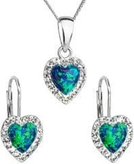 Evolution Group Srdíčková souprava šperků 39161.1 & green s.opal stříbro 925/1000
