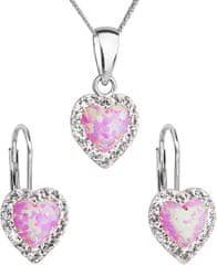 Evolution Group Srdíčková souprava šperků 39161.1 & light rose s.opal stříbro 925/1000