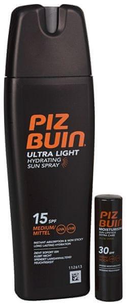 Piz Buin Dárková sada solární péče Sprej na opalování SPF 15 200 ml + Balzám na rty s Aloe Vera SPF 30 4,9 g
