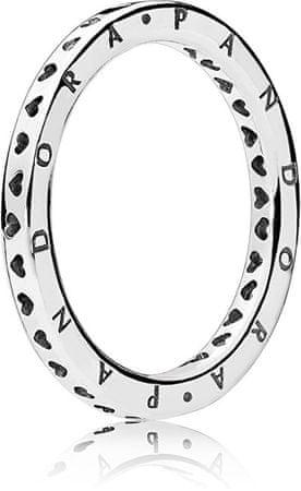 Pandora Srebrny pierścionek z serduszkami 197133 (obwód 50 mm) srebro 925/1000